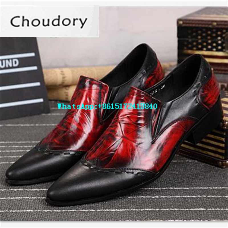 Choudory Mixed Colors Breathable Height Increasing Men Shoes Casual Pointed Toe New Designer Black Red Wedding Brogue Shoes Men