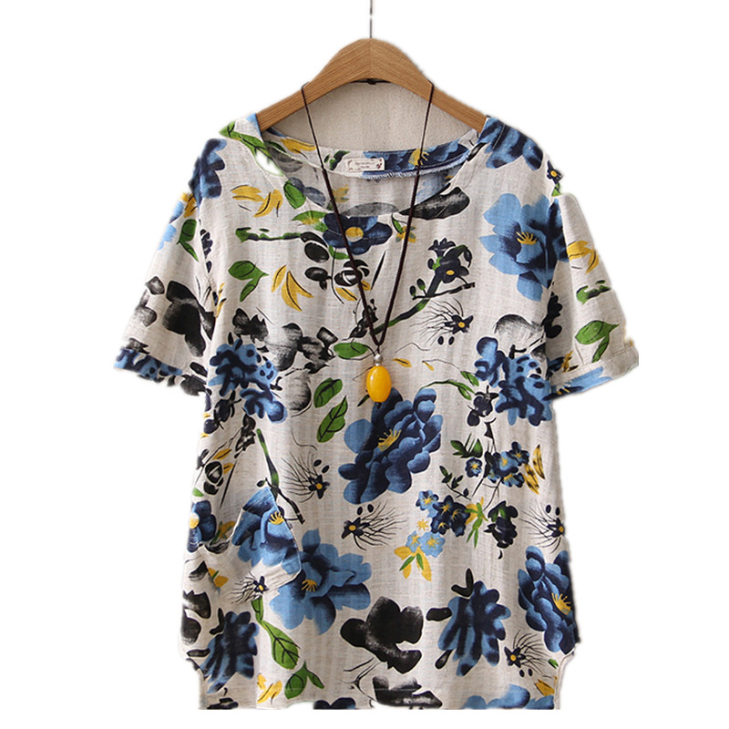 Casual Women Cotton Linen Top Loose Tees Femme Ethnic Print Womens Floral Tshirts Short Sleeve Summer Clothes Vintage O-Neck
