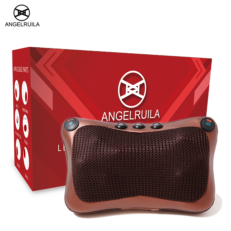 Angelruila massage pillow for neck Device Shiatsu Body Massager Infrared Heating Kneading Car Home electric Massagem health care electric shiatsu foot massager far infrared heating kneading reflexology massage device home relaxation back massager