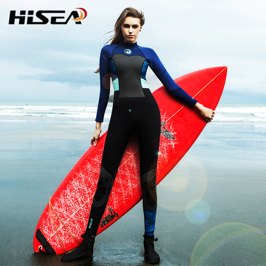 a6fd824919 One-Piece Neoprene 1.5mm Diving Suit Winter Long Sleeve Women Patchwork  Wetsuit Prevent Jellyfish Snorkeling Suit Female