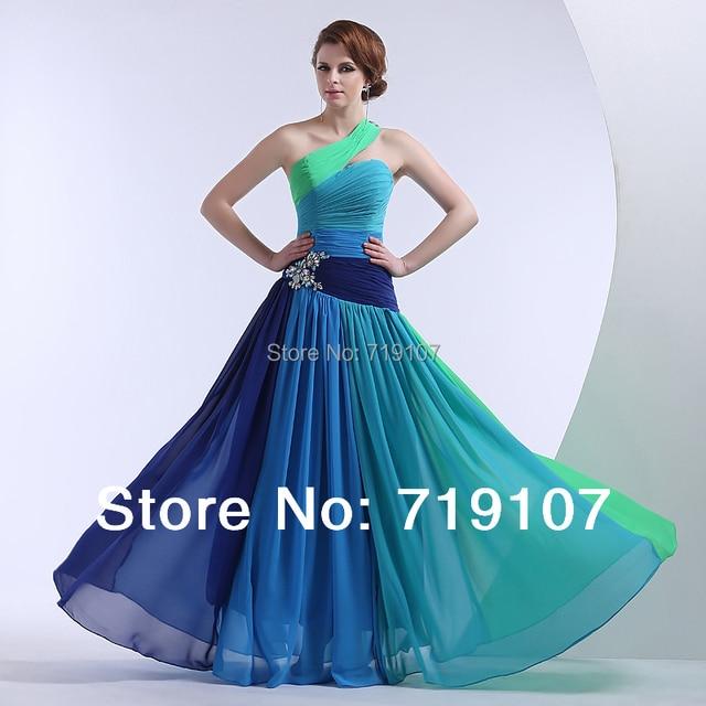 100% Real Photo Kostenloser Versand Formale bunte Abendkleid Eine ...