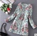 2017 mujeres de primavera nueva estética de lujo bordado de la flor tridimensional trinchera abrigo rompevientos mujeres abrigo de estilo Francés
