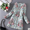 2017 women spring new aesthetic of luxury three-dimensional flower embroidery  trench coat French style windbreaker coat women