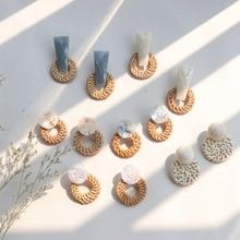 Vintage Round rattan Wooden Drop Earrings Geometric Handmade Resin Dangle Party Statement 2019 Women Jewelry