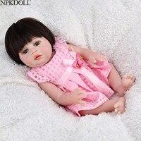 NPKDOLL Reborn Baby Doll Girl Babe Boneca 17 inch Full Vinyl Pink Princess Dress Black Hair Wigs Soft Silicone Birthday Gift