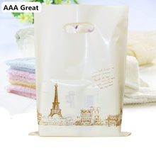 AAA Great Supermarket Shopping Bag Plastic Bags With Handle Snack Boutique Clothing Milk Tea Packing Bags 50Pcs/Lot Gifts Party(China)