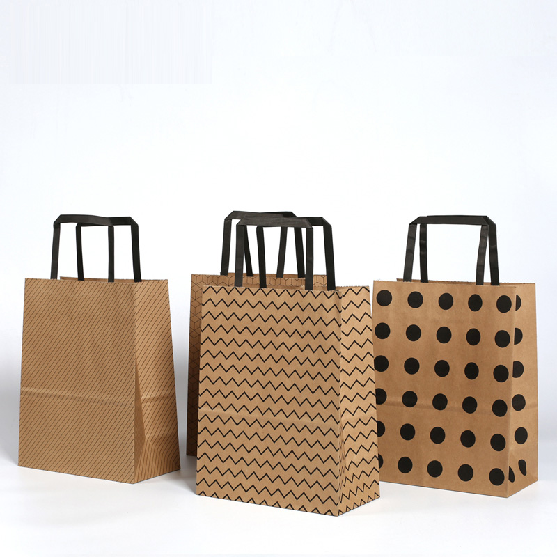 100 Pcs 4 Pattern Brown kraft paper bag with handle Candy Buffet Bags food packaging Boutiques