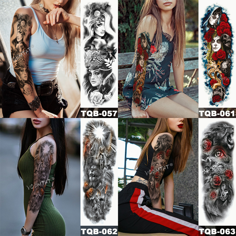 Tatuaje temporal para brazo con calaveras 3