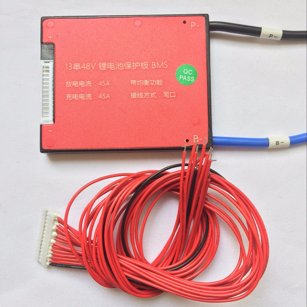 1pcS/LOT 13S 48V 18650 Li-ion 45A Electric Bike Lithium Battery Pack BMS 13s 48v electric vehicle power lithium battery protection plate bms belt equalization charging and discharging current 18a