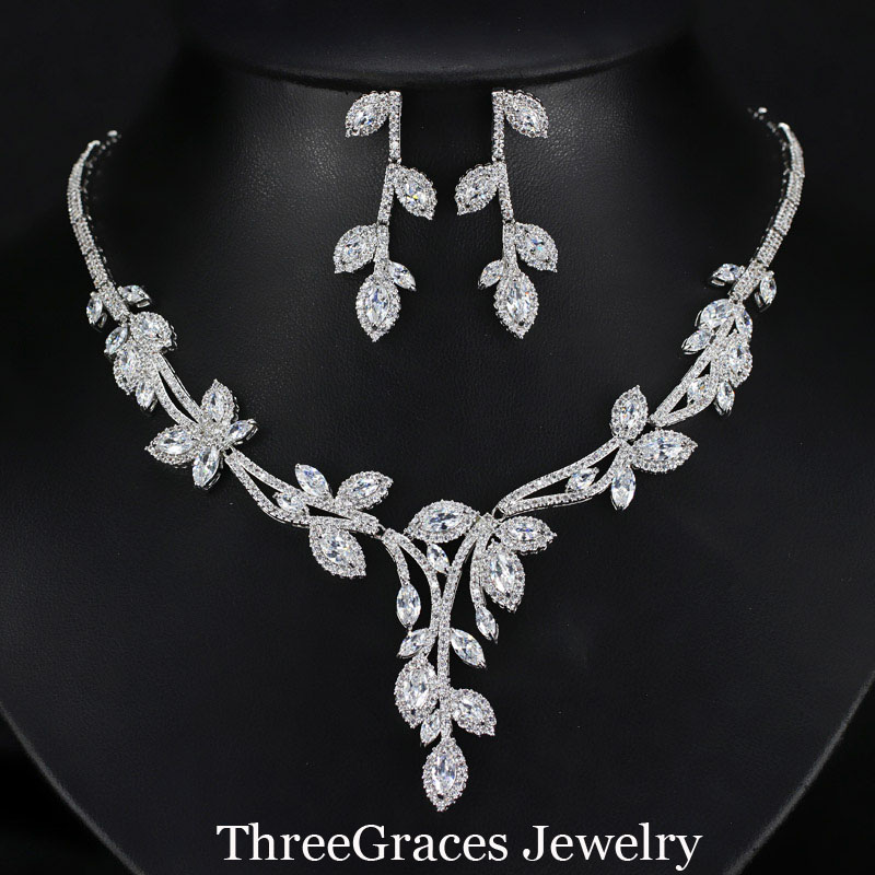 ThreeGraces Elegant Green Leaf Cubic Zirconia Long Crystal Dangle Earrings Necklace Costume Jewelry Sets For Women JS181-in Jewelry Sets from Jewelry ... & ThreeGraces Elegant Green Leaf Cubic Zirconia Long Crystal Dangle ...