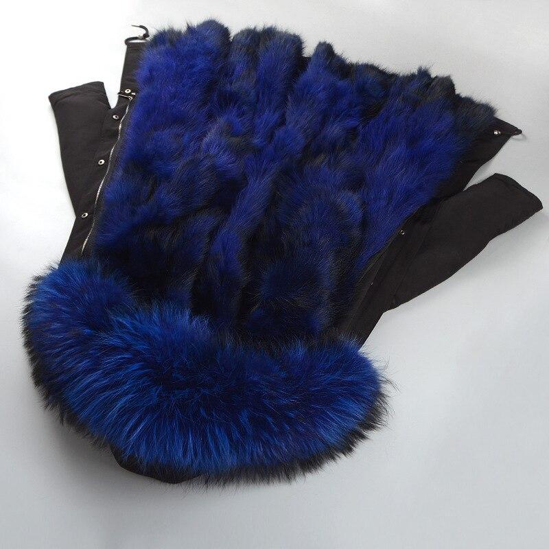 2018 настоящая зима Для женщин натуральный Лисий меховой воротник Кепки Parker толстые пальто с длинным рукавом большой Размеры Для женщин мехо...