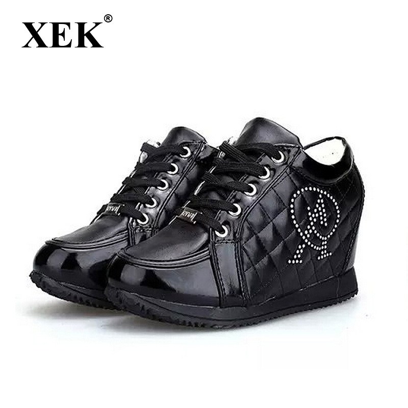Women shoes 2017 Black White fashion Height Increasing Wedge Heels Casual Rhinestone elevator platform shoes Women's shoes 788 wdzkn 2017 platform high heels wedge women shoes chaussure femme black white hidden heels elevator shoes winter casual shoes
