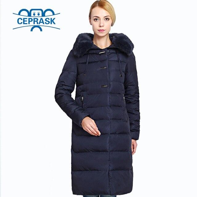 2017 Women's Winter Coat Really Fur Plus Size Long Hoodie Warm Women Winter Jacket Biological-Down Female Parkas 6XL CEPRASK