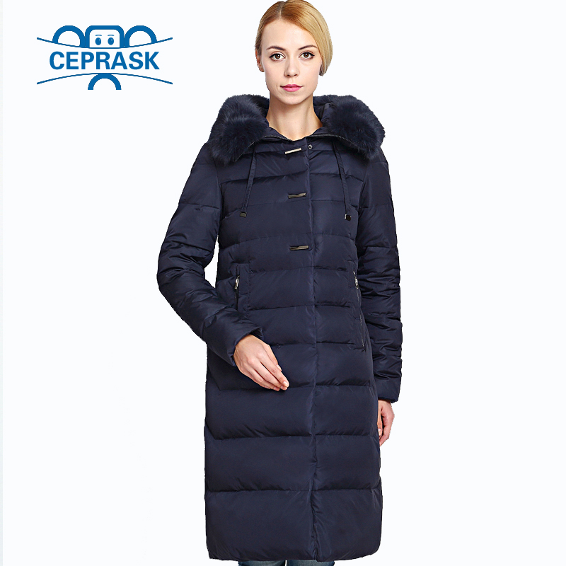 2019 Women's Winter Coat Really Fur Plus Size Long Hoodie Warm Women Winter Jacket Biological-Down Female   Parkas   6XL CEPRASK