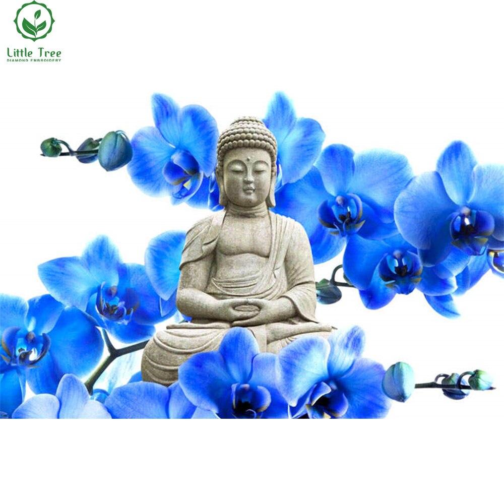 5d rhinestone embroidery blue orchid stone Buddha figurine crystal art craft full 3d diamond painting cross stitch mosaic kit