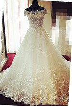 SS248 Real Photo Elegant A-Line Crytsal Lace Appliques Wedding Dress Sweetheart Long Ivory Bridal Dresses/Gowns vestido de noiva