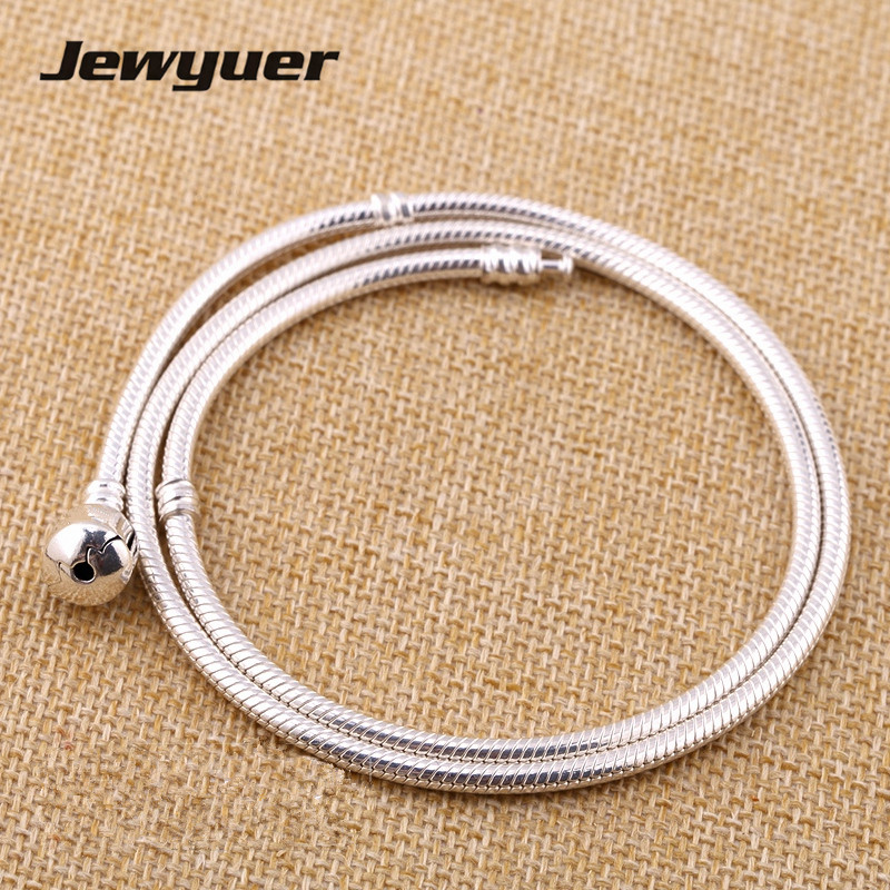 Silver Bracelets snake chain for women 925 sterling silver jewelry Fit Charms Beads Diy bangles and necklace Memnon YL108 2018 summer new moments black leather hand chain bracelets fit 925 sterling silver jewelry charms beads diy for women br066