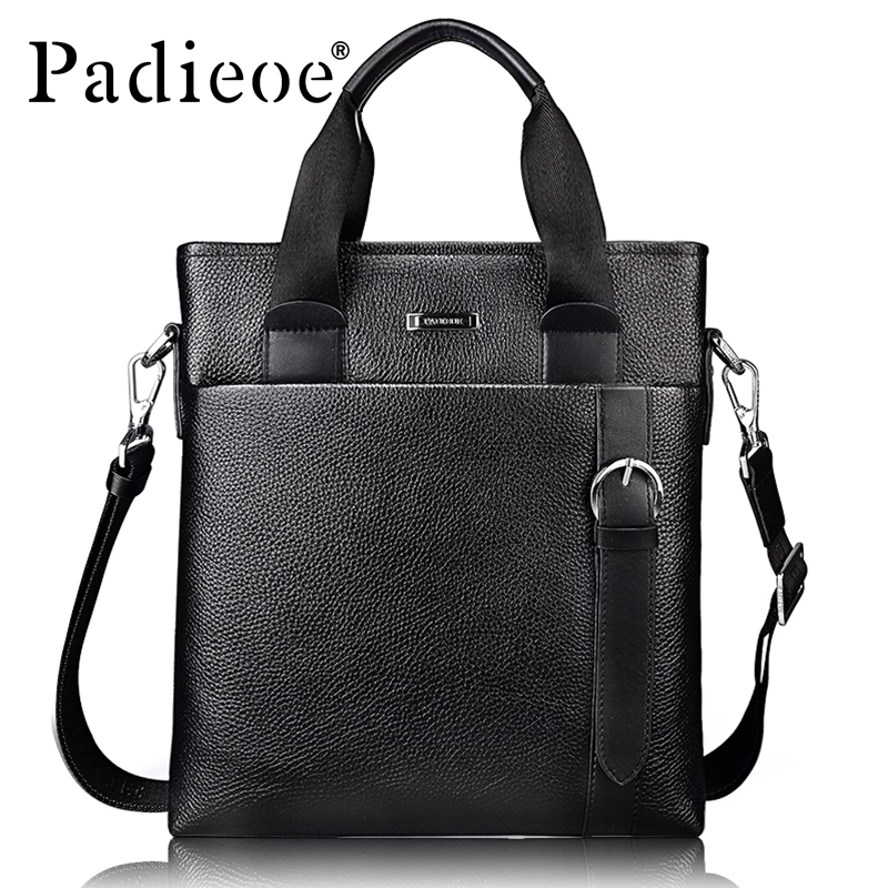 Padieoe Fashion Business Men Office Bags Genuine Leather Men Briefcase Famous Brand Male Handbags Bag Casual Men Messenger Bag padieoe genuine leather business men s messenger bag casual shoulder crossbody bag for male famous brand fashion travel men bags