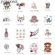 ZOTOONE Iron on Transfer Patch DIY Unicorn Patches for Clothing 3D Applique Embroidery Flower Transfers Thermocollants  C