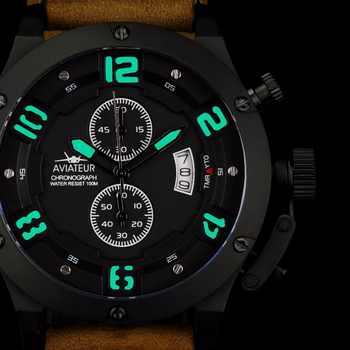 INFANTRY Mens Watches Top Brand Luxury Aviator Military Watch Men Genuine Leather Waterproof 100m Chronograph Watches for Men