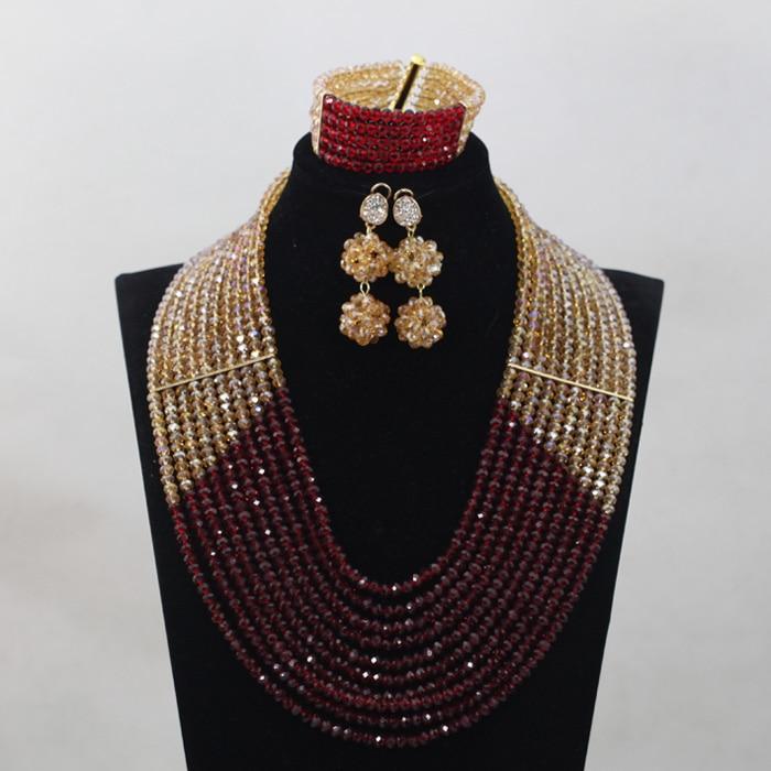 Derniers nouveaux invités de mariage vin et or perles africaines ensembles de bijoux Engagement Dubai or collier ensemble chaud livraison gratuite WD859 - 2