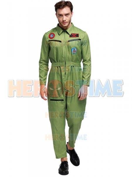 Costume de Halloween de pilote de ligne aérienne adulte uniforme de pilote des hommes de mode