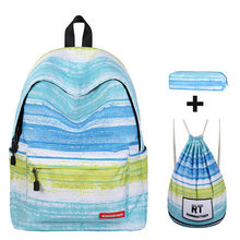 3pcs Sets School Bags for Teenage Girls with Pencel Case 14 inches Laptop Backpack for Women Female Shoulder Drawstring Bags(China)