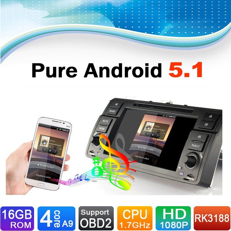16 GB Flash, 4 Core, HD 1024X600, Android 5.1 voiture DVD GPS Navigation pour BMW série 3 E46 M3
