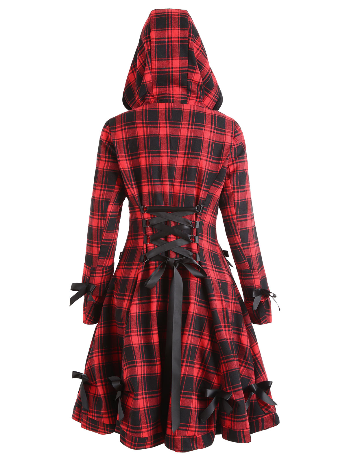 LANGSTAR Autumn winter Coat Women Plaid Hooded Button Up Skirted Coat Gothic Bow Lace-Up Long Pocket Women Outwear   Trench   Coats