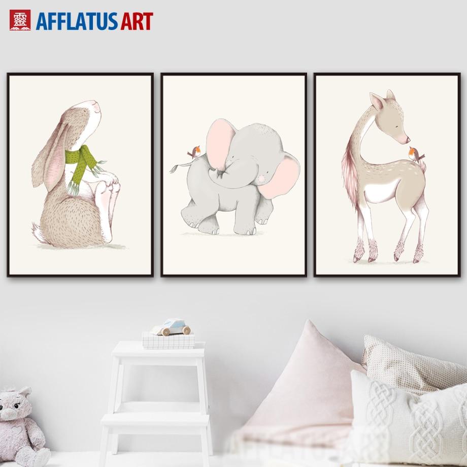 Мультфильмдер Elephant Rabbit Deer Wall Art - Үйдің декоры - фото 2