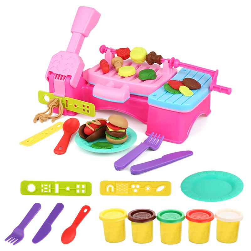 12pcs/set Colorful Barbecue Clay Tool Kits Baby Kids Pretend Play Toys Children Early Educational Toys Plasticine Mould Tool