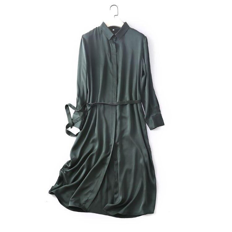 Femmes robe d'été en soie Vintage bleu marine vert soie naturelle robes robe élégante décontracté vacances vraie soie longue chemise robe