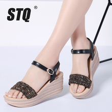 STQ 2020 夏の女性のフラットサンダル靴の女性のウェッジプラットフォーム Sandalias バックルサンダルハイヒール織りストラップサンダル 1805