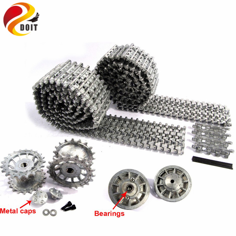 DOIT Metal Silver Tracks sprockets early with metal caps idler wheels with bearings for Heng Long 3818 1 16 RC Tiger 1 tank