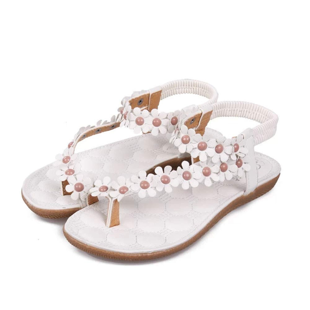 3304a9376649b8 Women s Sandals Fashion Sweet Summer Bohemia Sweet Beaded Clip Toe Sandals  Beach Shoes Comfortable Herringbone Sandals Shoes-in Low Heels from Shoes  on ...