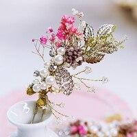 Bohemia Tarzı Korunmuş Taze Kurutulmuş Babysbreath Çiçekler Gelin Saç Aksesuarı Saç Sopa Resmi Elbise Marriaged Düğün Çatal