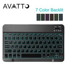 AVATTO 10,1 дюймов 7 цветов с Подсветкой Bluetooth 3,0 планшет клавиатура, USB перезаряжаемая мини клавиатура для iPad iphone ноутбук планшет