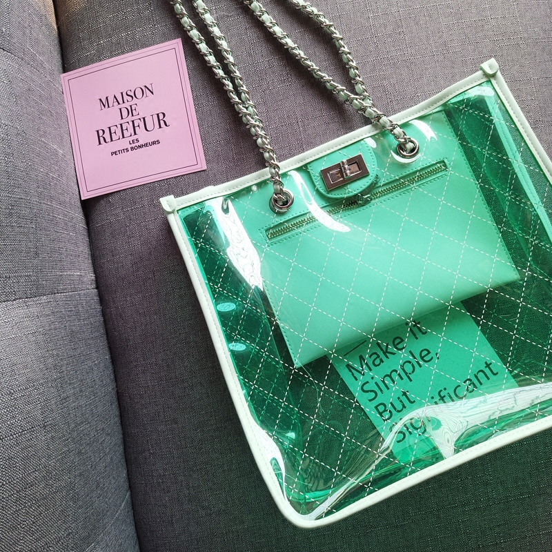 Candy Color Jelly Clear Transparent Bag Large Capacity Summer Beach Bag PVC Waterproof Chain Shoulder Bag Lady Women Handbags summer handbags transparent beach bag trend chains shoulder bag jelly candy color messener bag bright pvc composite bag set 1731