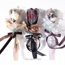 20 шт ромбовидной формы одиночный цветок мешок букет оберточная бумага пластиковый Opp мешок Роза цветок упаковочный материал Свадебный декор