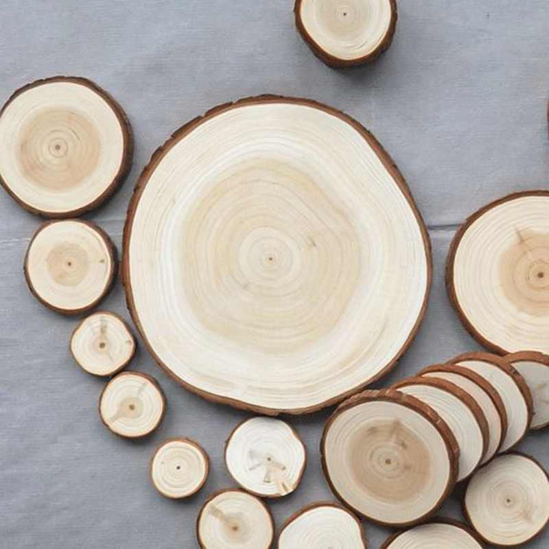 Натуральный круглый Деревянные ломтики круги с коры дерева деревянные подставки для DIY ремесла Свадебная вечеринка Живопись украшения