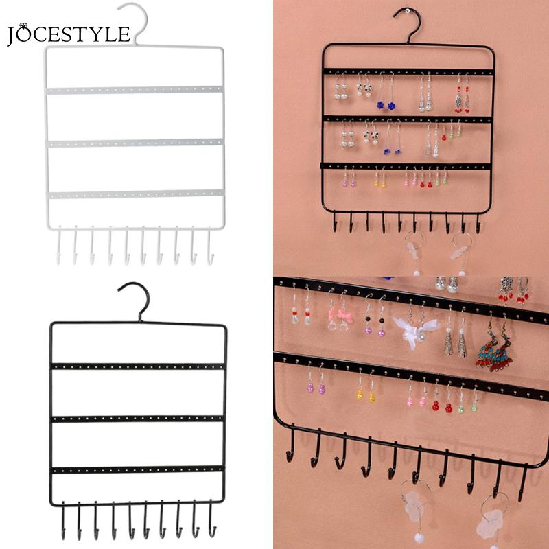 New 66 Holes And 10 Hooks Wall Earring Organizer Jewelry Hanging Holder Necklace Display Stand Rack Holder