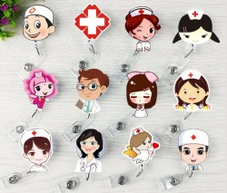 1pcs Cute Retractable Badge Reel Student Nurse Exhibition ID Name Card Badge Holder Office Supplies