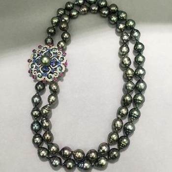 8ac55118afab Collar de perlas negras naturales barrocas con múltiples capas de Plata de  Ley 925 joyería de moda para mujer envío gratuito collar de fiesta