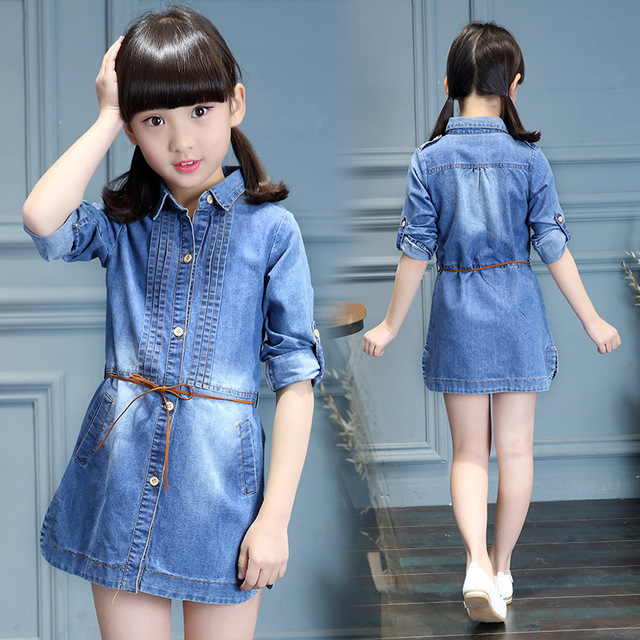 e8ea7736f838 Spring Children Kids Girl Long Sleeve Denim Jeans Shirt Dress ...