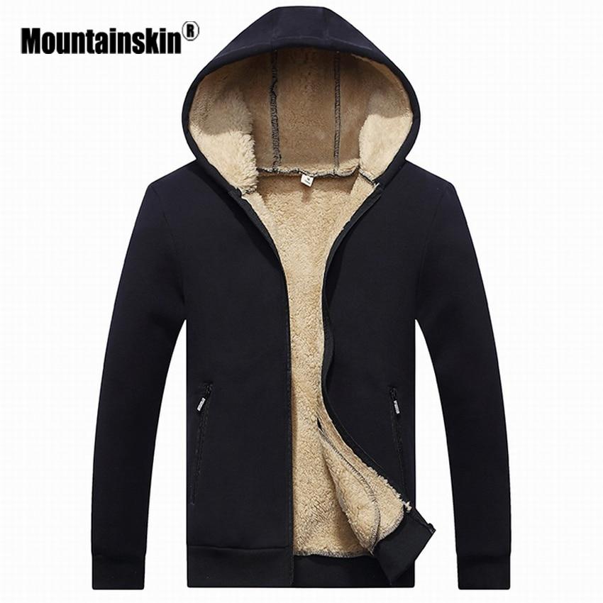 Mountainskin Winter Men's Jackets Fleece Warm Tracksuit Soft Men Hoodies Coats Thick Velvet Sweatshirt Mens Brand Clothing SA410
