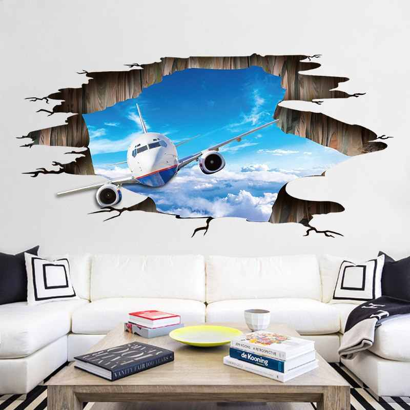 Creative Broken 3D Effect Airplane Living room Bedroom Floor Bar Background Mural Decor Vinyl Self adhesive Decal Wall Stickers