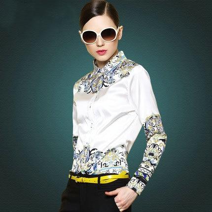 2015 camisas da forma original Do major suit Simples das mulheres imprimiram a camisa moda Ms longo sleeved camisa camisas femininas