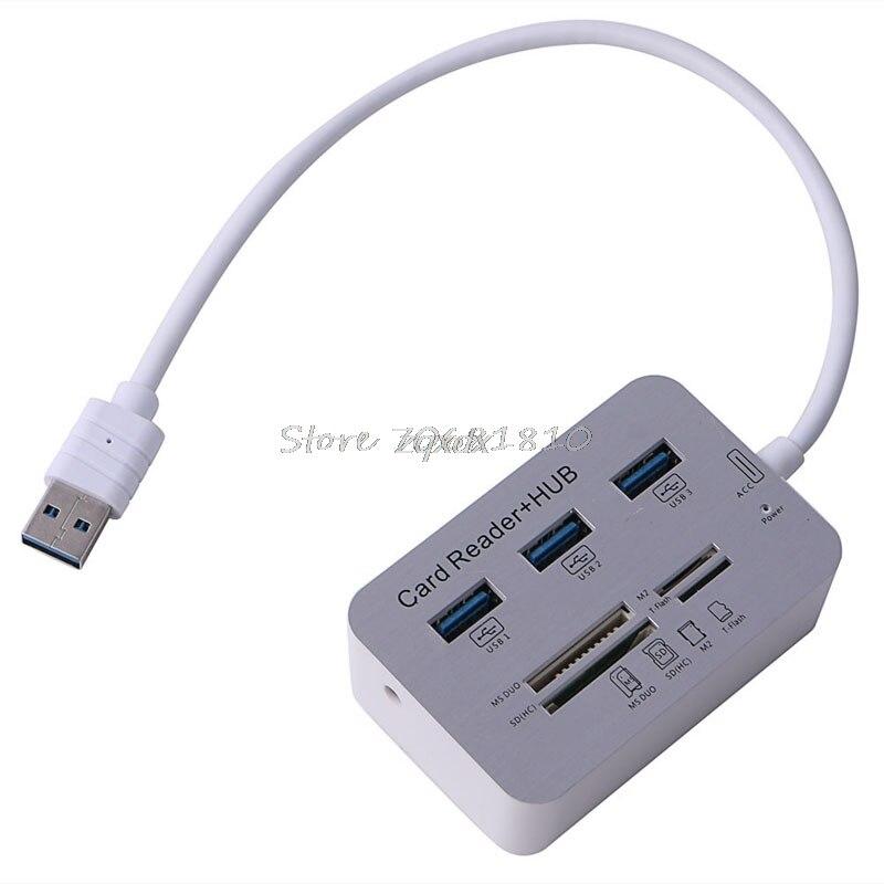 Новый Портативный Card Reader 3 Порты и разъёмы Алюминий USB 3.0 хаб с MS SD M2 TF Multi-In-1 Z09 Прямая поставка ...