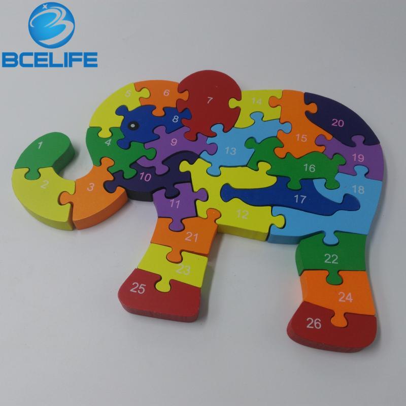 elefante de madera educacional matemticas juego de puzzle de madera juguetes letras cm color cerebro