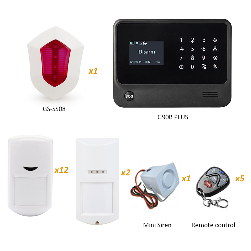 GS-G90B Plus WIFI GSM Security Home Alarm System with Flash Siren and Outdoor Waterproof PIR Motion Sensor xinsilu wireless intelligent pir motion sensor gs wms0 with build in tamper switch for g90b wifi alarm system